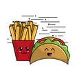 kawaii fast food icon adorable expression vector image vector image