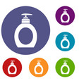liquid soap icons set vector image vector image