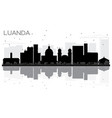 luanda angola city skyline black and white vector image vector image