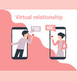 man and woman phone small people love vector image