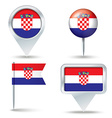 Map pins with flag of Croatia vector image vector image