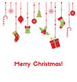 merry christmas greeting card with hanging garland vector image
