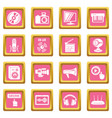 multimedia internet icons set pink square vector image vector image
