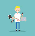 multitasking millennial concept young blond man vector image vector image