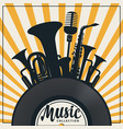 music banner with vinyl record and wind instrument vector image vector image