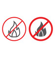 no fire line and glyph icon prohibited and vector image vector image