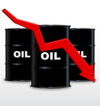 Oil Barrels And Red Arrow Chart Down Trend vector image
