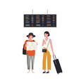 pair girls with map and suitcase waiting at vector image