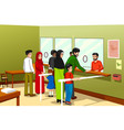people in post office vector image