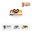 petshop company name and logo concept template vector image vector image