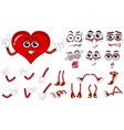 red heart with different expressions set vector image vector image
