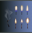 set fire realistic candle flame and vector image vector image