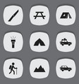 set of 9 editable camping icons includes symbols vector image vector image