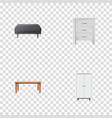 set of furniture realistic symbols with cupboard vector image