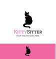 sitting cat logo vector image vector image