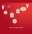 Sparkling mid autumn festival lanterns ornaments vector image