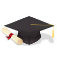 student graduation hat with diploma eps10 vector image
