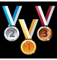 Three medals - gold silver and bronze vector image