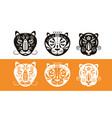 tiger logo design set stencil stamp template vector image