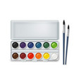 watercolor and paintbrushes vector image vector image