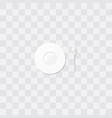 white saucer with a coffee spoon little plate vector image