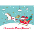 winter card with cute unicorn and gifts vector image vector image