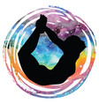 women silhouette bow yoga pose dhanurasana vector image vector image