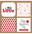 set with cat and patterns with hearts vector image