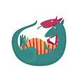 cute cartoon double headed dragon character vector image