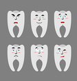 Set teeth with emotions Cheerful and angry tooth vector image