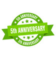 5th anniversary ribbon 5th anniversary round vector image vector image