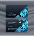 abstract dark business card with geometric blue vector image vector image