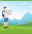 backpacker looking at map vector image