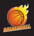 basketball on fire tournament logo vector image vector image