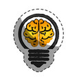 bulb light with brain vector image vector image