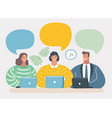 business team communication blank speech bubbles vector image vector image
