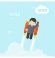 Businessman Flying On the Rocket To Success vector image
