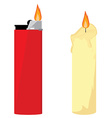 Candle and lighter vector image