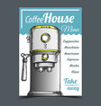 coffee maker machine front view poster vector image