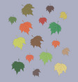 colorful maple leaves set isolated on gray autumn vector image