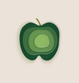 conceptual green apple layered cut out colored vector image