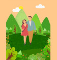 couple man and woman walking in forest among trees vector image vector image