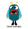 cute confused monster print design vector image vector image