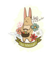 easter cartoon bunny with eggs vector image