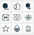 ecology icons set with campfire snowflake no vector image vector image