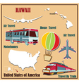 Flat map of Hawaii vector image vector image