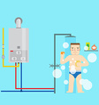 Gas water heater and man in the bathroom taking a vector image