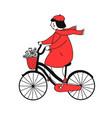 girl on the bike vector image