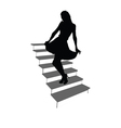 girl posing on the stairs black silhouette vector image vector image