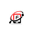 hand phone search initial f vector image vector image